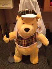 "Walt Disney World Exclusive Large GOLFER POOH 14"" PLUSH Plaid Shirt Hat New Tags"