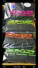 PAIR SUPERIOR QUALITY JET BLACK THROW OVERS FLURO AXS LOGO SLIP ON SEAT COVERS