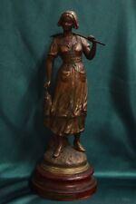 "Statua scultura regule francese XX sec raffigurante donna ""Pecheuse"" Par Chauvin"