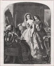 DRESSING BRIDE FOR WEDDING, DRESS, ANTIQUE ENGRAVING, ORIGINAL 1856