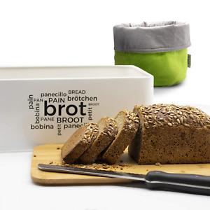 Brotkasten +Stoff Brotkorb +Brotmesser +Bambus Schneidebrett 4-in-1 Set Brotbox