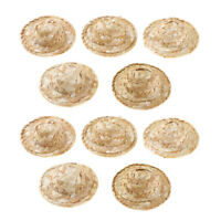 10pcs Dollhouse Miniature Straw Hats Hand Knitting Outdoor Sunhat DIY Accs