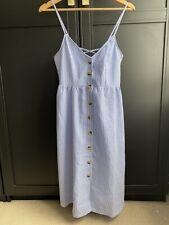 Vestido de verano H&M azul y blanco Candy Stripe tamaño 10