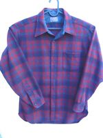 Vintage Pendleton Mens Red Blue Plaid Wool Lodge Shirt Large with Lined Collar