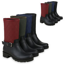 Damen Stiefel Gummistiefel Gesteppte Regenschuhe Profilsohle 824697 Schuhe