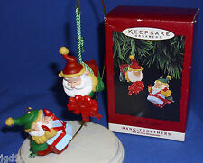 Hallmark Hang Togethers Ornament Set Happy Wrappers 1995 Elves Wrap Gift Used?