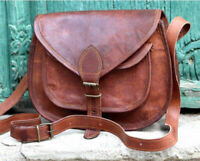 Vintage Leather Messenger Bag Womens Satchel Purse Handbag Crossbody Bags 13 In