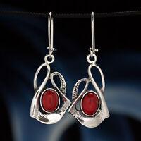 Koralle Silber 925 Ohrringe Damen Schmuck Sterlingsilber H0383