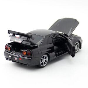 1:32 1998 Nissan GT-R (BNR34) Skyline Sports Car Model Diecast Toy Kids Black