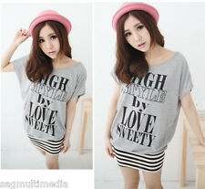 Japan Korea fashion cute sexy gray striped dress top