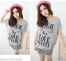 Japan Korea fashion cute sexy gray striped dress top