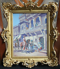 """MAGNIFICENT FRENCH 1900 ORIENTRALISM PAINTING IN 22K GOLD PLATED FRAME """"SIGNED"""""""