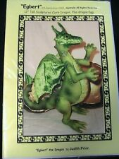 "EGBERT Dragon~Judith Prior *RARE & OOP 2006 12"" cloth art dragon doll pattern"