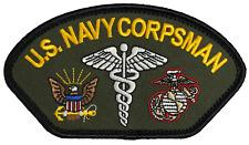 U.S. Navy Corpsman Patch FMF USMC Marine Corps OD GREEN Navy Doc Hat Patch