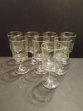 Set of 8 Vintage Arby's Holly & Berries Christmas Water/Wine Goblets, 1985