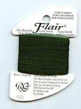 Rainbow Gallery Flair F535 Forest Green Stretchable Tubular Ribbon Needlepnt