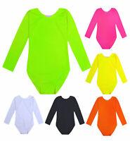 Girls Dance Gymnastic Bodysuit Kids Long Sleeve Ballet Leotard Top Age 5 - 13 Yr