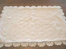 One White Vintage Pinwheel Crochet Sham - 100% Cotton - Queen