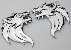 Pair 3D Quality Metal Wolf Head Badge Decals CAR Motorcycle Stickers - Silver