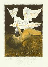"Ex libris Erotic Exlibris ""Leda and Swan"" by MUTAFCHIEV ZHIVKO / Bulgaria"