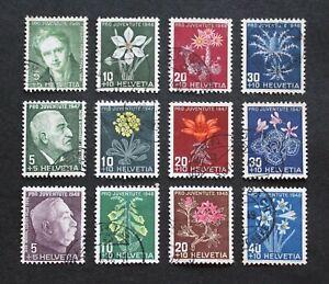 SWITZERLAND - 1946-48 SCARCE BOB SEMI-POSTAL 3 DIFF FLOWERS SETS VFU LOT RR