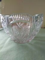 Swedish Cut Crystal bowl Frosted around flowers. cut glass  mid century glass