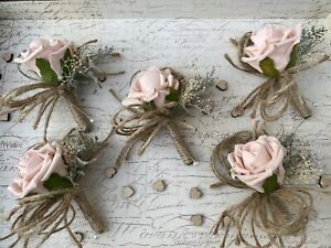 Dusky Pink Rose Rustic Buttonhole Vintage Hessian Wedding Flowers X1 NEW DESIGN