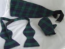 (A) TARTAN Black Watch Polyester Self-tie Bow tie + Cummerbund and Hankie Set