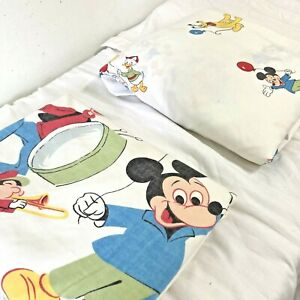 Vintage 60s Walt Disney Mickey Mouse Twin Flat Fitted Sheet Set Parade Balloons