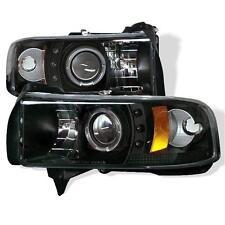 Projector LED Halo  Head Lights 1PC Dodge Ram 1500 94-01 2500-3500 94-02 Black