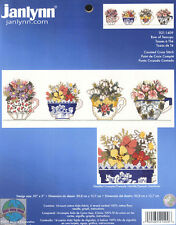 Cross Stitch Kit ~ Janlynn Colorful Spring Flowers Row of Teacups # 021-1409