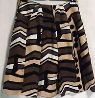 Focus 2000 Women Skirt Size 14 100% Linen Flare Pleated White Brown Black Lined
