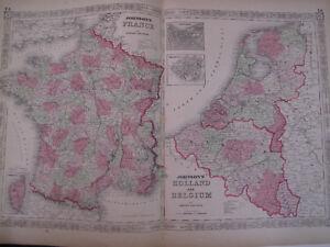 Hand Colored Map Johnson's Atlas Europe France Holland Belgium Paris 1863