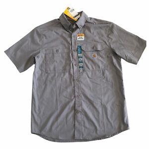 Carhartt Ridgefield Mens Sz M Short Sleeve Shirt Relaxed Fit Asphalt New 102417