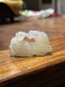 Chinese Antique white Jade Monkey Horse Pendant Asian China