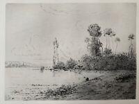 Hippolyte-Camille DELPY Gravure Eau Forte Etching La Seine Près De Vernon