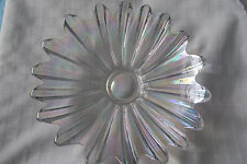 """VINTAGE CLEAR DEPRESSION GLASS DAISY SHAPED FRUIT BOWL 11"""" IN DIAMETER PEARL"""