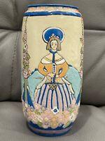 Antique Lenox American Belleek Series Porcelain Vase w/ Basket & Flowers Dec.