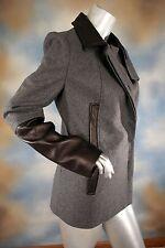 NWT $695 Diane von Furstenberg DVF Eva Melton Leather Trim Coat  Gray Black 8 M