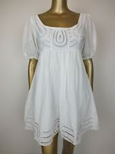 KETZ-KE WHITE DRESS EMBROIDERED TUNIC KAFTAN DRESS -  100% COTTON - 10