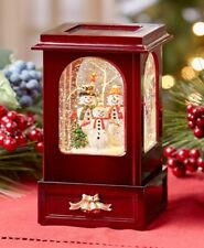 Nostalgic Light and Motion Snowman Family Christmas Cabinet Snow Globe Keepsake