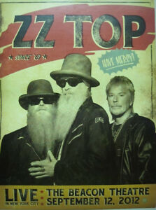 ZZ TOP 2012 Beacon Theatre Live Promotional Poster Flawless New Old Stock