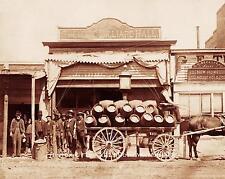CHEYENNE BILLIARD HALL SALOON VINTAGE PHOTO KEGS OF BEER OLD WEST  8x10 #21538