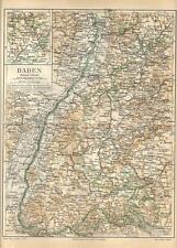 Carta geografica antica BADEN GRANDUCATO Germania Germany 1890 Old antique map