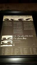 U2 Boy Tour Rare Original Promo Poster Ad Framed!