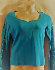 MY FAVORITE THINGS by Colleen Lopez (HSN)~Sequined Stretch Knit Top~Turquoise~L~