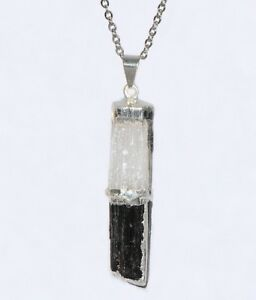 Black Tourmaline and Selenite Stacked Pendant Necklace Sterling Silver Chain Hea
