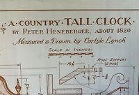 Country TALL CLOCK Measured & Drawn by Carlyle Lynch Woodworking Plans NEW #49