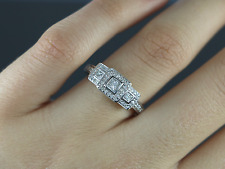 Gordon's Jewelers 14K White Gold 3 Princess Cut Round Engagement Ring Band