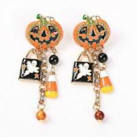 Halloween Party Pumpkin Ghost Pair Ear Stud Dangle Ni Earrings Jewelry Hoop I6N9